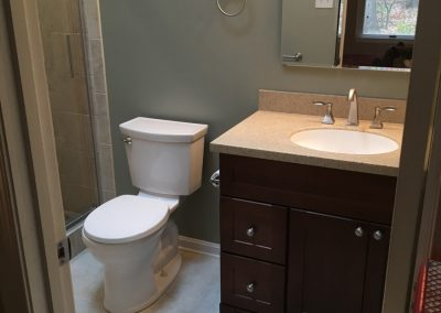 Clean lines in small bathroom